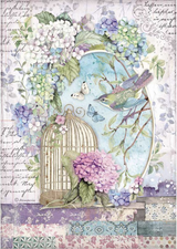 Stamperia - Decoupage Rice Paper A4 8.26x11.69 - Hortensia - Cage (DFSA4472)