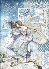 Stamperia - Decoupage Rice Paper A4 8.26x11.69 - Winter Tales - Fairy In The Wind (DFSA4488)
