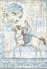 Stamperia - Decoupage Rice Paper A4 8.26x11.69 - Winter Tales - Horse (DFSA4492)
