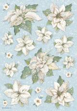Stamperia - Decoupage Rice Paper A4 8.26x11.69 - Winter Tales - Poinsettia Texture (DFSA4494)