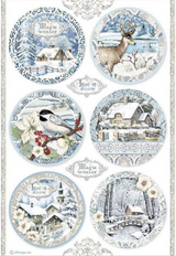 Stamperia - Decoupage Rice Paper A4 8.26x11.69 - Winter Tales - Rounds Landscape (DFSA4495)