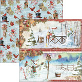 "Ciao Bella - Double-Sided Paper 12""X12""- Northern Lights - Snowmen (CBSS128)"