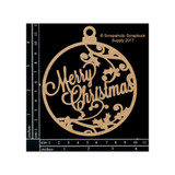 Scrapaholics - Laser Cut Chipboard - Merry Christmas Ornament (S50343)