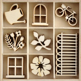 Kaisercraft -Wood Mini Themed Embellishments - Flower Shoppe (FL670)