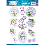 Find It Trading - Jeanine's Art - The Colours Of Winter - Punchout Sheet - Purple Winter Flowers (SB10493)