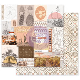 Prima - Double sided 12x12 Paper w/Foil Accents - Golden Desert - Cactus