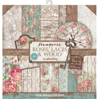 "Stamperia - Double-Sided Paper Pad 12""X12"" - Roses, Lace & Wood SBBL25"