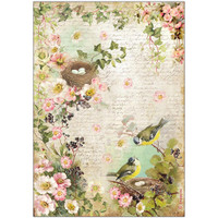 Stamperia -  Peach Flowers & Nest - Decoupage Rice Paper 8.25 x 11.5