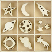 Kaisercraft - Flourish Wooden Pack - Star & Moon - 55 pcs (FL625)