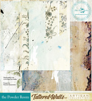 Blue Fern Studios - Tattered Walls 12x12 dbl sided paper - The Powder Room