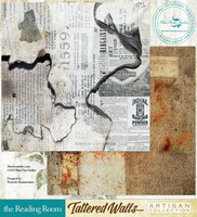 Blue Fern Studios - Tattered Walls 12x12 dbl sided paper - The Reading Room (848285)