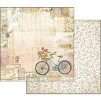 Stamperia - Garden - Double sided 12x12 Paper - Garden Bicycle (SBB555)
