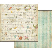 Stamperia - Garden - Double sided 12x12 Paper - Music Score Watering Can (SBB556)
