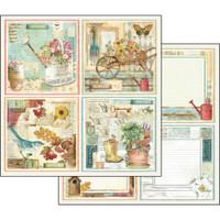 Stamperia - Garden - Double sided 12x12 Paper - Garden Cards (SBB557)