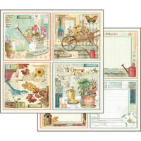 Stamperia - Garden - Double sided 12x12 Paper - Garden Cards (SBB557)