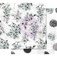 Prima - Double sided 12x12 Scrapbook Paper w/Foil Accents - Flirty Fleur - Traveling Florals 848323