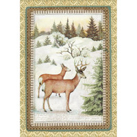 Stamperia -Winter Botanic Reindeer - Decoupage Rice Paper 8.25 x 11.5