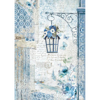 Stamperia - Blue Land Lamp - Decoupage Rice Paper 8.25 x 11.5 (DFSA4336)