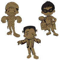 Creative Embellishments - Chipboard - Little Monsters 1 - Frankenstein Mummy Super Hero