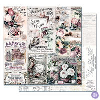 Prima - Double sided 12x12 Scrapbook Cardstock Paper w/Foil Accents - Lavender Frost - My Lovely Garden