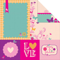 "Kaisercraft - Double-Sided scrapbooking paper 12""X12"" - Butterfly Kisses - Fun P906"