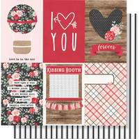 "Simple Stories - Kissing Booth Double-Sided Cardstock 12""X12"" - 4""X6"" Vertical Elements KISS12 10390"