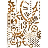 "Stamperia - D 7.87"" X 5.91"" Stencil - Gears & Hands KSD278"