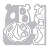 Sizzix - Jen Long - Thinlit Die Set 14PK - Card, Panda Fold-a-Long (663574)
