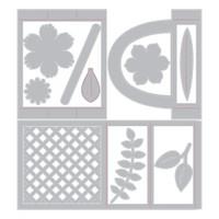 Sizzix - Lynda Kanase - Thinlits Die Set 12PK - Card in a Box, Flower Basket (663578)