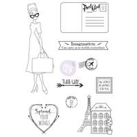 Prima - Julie Nutting - Cling Stamp Set - Traveling Girl (912949 )