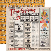 "Carta Bella - Autumn - Double -Sided Cardstock 12""x12"" - Thanksgiving Feast (CBATM57004)"