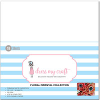"""Dress My Crafts - White 12""""X12"""" 10/Pkg - Magical Flower Making Paper - Floral Oriental Collection (DMCP1121)"""