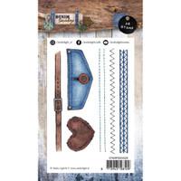 Studio Light - Denim Saturdays - A6 Stamp - Stiches Pocket & Belt