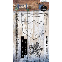 Studio Light - Denim Saturdays - A6 Stamp - Pocket Phrases & Flower (STAMP326)