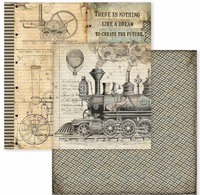 Stamperia - 12x12 Double-Sided Paper - Voyages Fantastiques - Steam Train (SBB600)