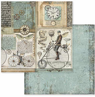 Stamperia - 12x12 Double-Sided Paper - Voyages Fantastiques - Retro Bicycle (SBB602)