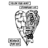 "Stamperia - Stamperia Cling Stamp 5.90""X7.87"" -  Mechanical Heart (WTKAT04)"