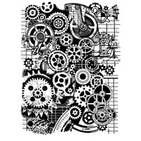 "Stamperia - Stamperia Cling Stamp 5.90""X7.87"" -  Mixed Media Gears (WTKAT07)"