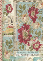 Stamperia - Decoupage Rice Paper A4 - Alice Collection - Red Flowers (DFSA4351)
