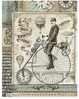 Stamperia - Decoupage Rice Paper A4 - Voyages Fantastiques - Retro Bicycle (DFSA4371)
