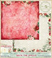 Blue Fern Studios - Vintage Christmas 1 - 12x12 dbl sided paper - Deck the Halls (BFVC1 101175)