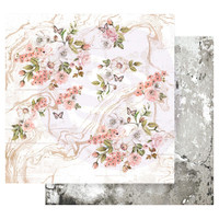 Prima Marketing - Double sided 12x12 Paper w/Foil Accents - Apricot Honey - Tiny Blossoms (APIC12 49191)