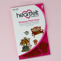 Heartfelt Creations - I WANT IT ALL - Cherry Blossom Retreat Collection - Cling Rubber Stamp Set - Wishing Well Oasis - HCPC3868