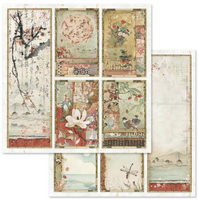 Stamperia - Double-Sided Cardstock 12x12 - Oriental Garden - Oriental Paintings (SBB634)