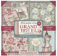 """Stamperia - Double-Sided Paper Pad 12""""X12"""" 22/Pkg - Grand Hotel (SBBXL03)"""