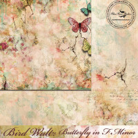 PRE-ORDER - Blue Fern Studios - Bird Waltz - 12x12 dbl sided paper - Butterfly in f Minor