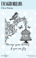 Blue Fern Studios - Bird Waltz Collection Clear Stamp - Uncaged Dreams (691773)