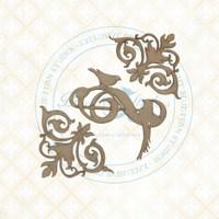 Blue Fern Studios - Chipboard - Bird Waltz - Flourished Swirls (693678)
