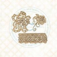 Blue Fern Studios - Chipboard - Bird Waltz - Floral Lace (693579)