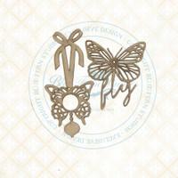 Blue Fern Studios - Chipboard - Bird Waltz - Butterfly Charms (693173)